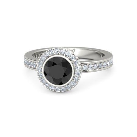 Round Black Diamond Platinum Ring with Diamond | Roxanne ...