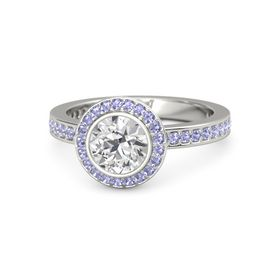 Round White Sapphire Platinum Ring with Tanzanite