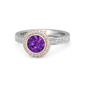 Round Amethyst Sterling Silver Ring with Diamond