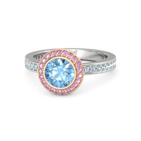 Round Blue Topaz Sterling Silver Ring with Pink Sapphire & Aquamarine