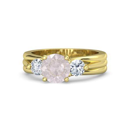 Rose Gold Ans Sapphire Three Stone Ring