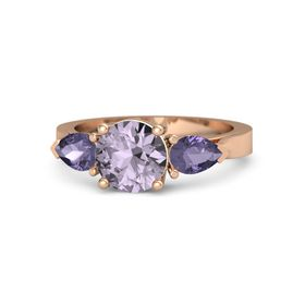 Round Rose de France 14K Rose Gold Ring with Iolite