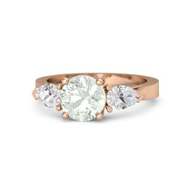 Round Green Amethyst 14K Rose Gold Ring with White Sapphire