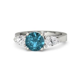 Round London Blue Topaz 14K White Gold Ring with White Sapphire