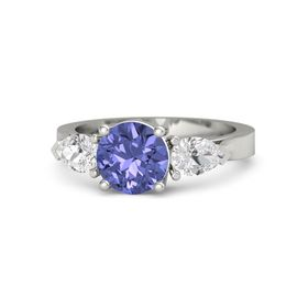 Round Tanzanite 14K White Gold Ring with White Sapphire