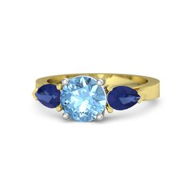 Round Blue Topaz 14K Yellow Gold Ring with Blue Sapphire