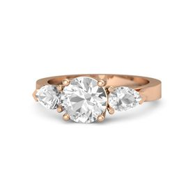 Round Rock Crystal 18K Rose Gold Ring with Rock Crystal