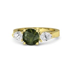 Round Green Tourmaline 18K Yellow Gold Ring with White Sapphire