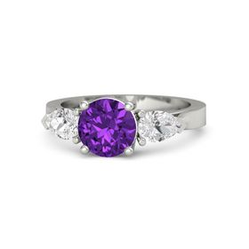 Round Amethyst Palladium Ring with White Sapphire