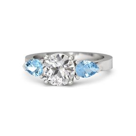 Round White Sapphire Sterling Silver Ring with Blue Topaz