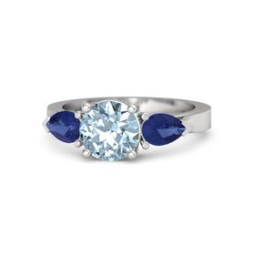 Round Aquamarine Sterling Silver Ring with Blue Sapphire