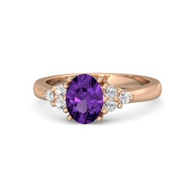Oval Amethyst 14K Rose Gold Ring with White Sapphire