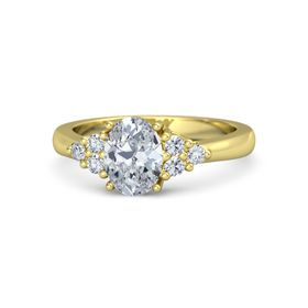 Oval Moissanite 14K Yellow Gold Ring with Diamond