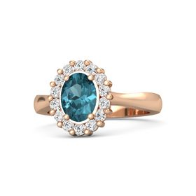 Oval London Blue Topaz 14K Rose Gold Ring with White Sapphire