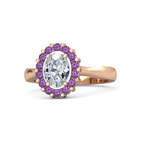 Oval Diamond 14K Rose Gold Ring with Amethyst