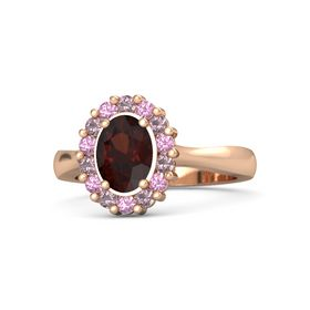 Oval Red Garnet 14K Rose Gold Ring with Rhodolite Garnet and Pink Tourmaline