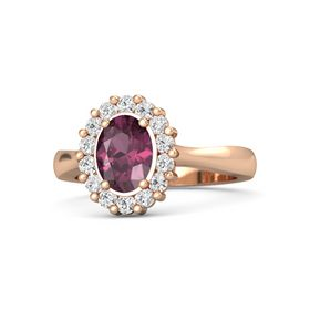 Oval Rhodolite Garnet 14K Rose Gold Ring with White Sapphire