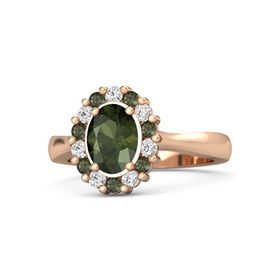 Oval Green Tourmaline 14K Rose Gold Ring with White Sapphire and Green Tourmaline