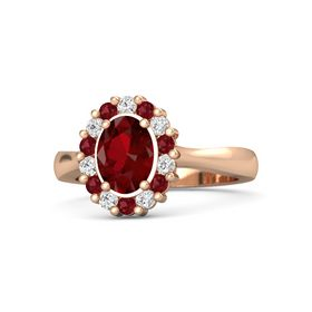Oval Ruby 14K Rose Gold Ring with White Sapphire & Ruby