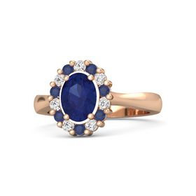 Oval Blue Sapphire 14K Rose Gold Ring with White Sapphire and Blue Sapphire