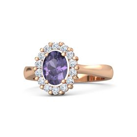 Oval Iolite 14K Rose Gold Ring with Diamond