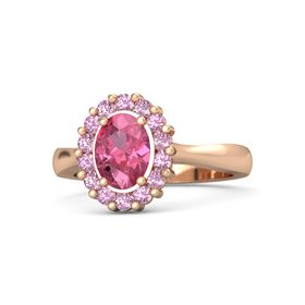 Oval Pink Tourmaline 14K Rose Gold Ring with Pink Tourmaline & Pink Sapphire