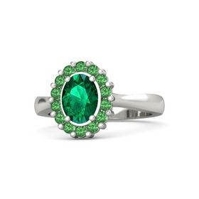 Oval Emerald 14K White Gold Ring with Emerald