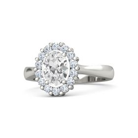 Oval White Sapphire 14K White Gold Ring with Diamond