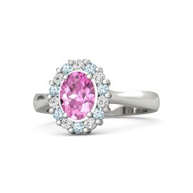 Oval Pink Sapphire 14K White Gold Ring with White Sapphire & Aquamarine