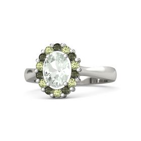 Oval Green Amethyst 14K White Gold Ring with Green Tourmaline and Peridot