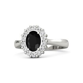 Oval Black Onyx 14K White Gold Ring with White Sapphire