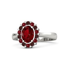 Oval Ruby 14K White Gold Ring with Red Garnet & Ruby