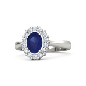 Oval Sapphire 14K White Gold Ring with Diamond