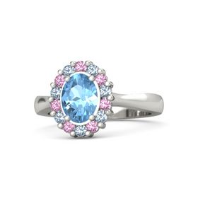 Oval Blue Topaz 14K White Gold Ring with Pink Tourmaline and Blue Topaz