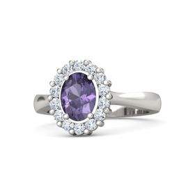 Oval Iolite 14K White Gold Ring with Diamond