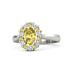 Oval Yellow Sapphire 14K White Gold Ring with Yellow Sapphire and White Sapphire