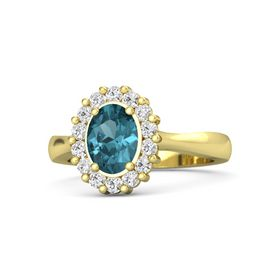 Oval London Blue Topaz 14K Yellow Gold Ring with White Sapphire