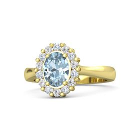 Oval Aquamarine 14K Yellow Gold Ring with Diamond and White Sapphire