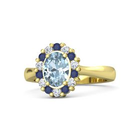 Oval Aquamarine 14K Yellow Gold Ring with Sapphire & Diamond