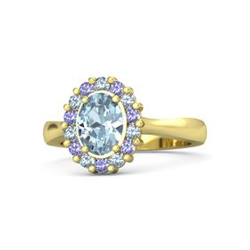 Oval Aquamarine 14K Yellow Gold Ring with Blue Topaz and Iolite