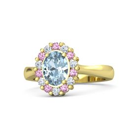 Oval Aquamarine 14K Yellow Gold Ring with Pink Tourmaline & Diamond