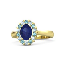 Oval Blue Sapphire 14K Yellow Gold Ring with London Blue Topaz and Aquamarine