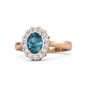 Oval London Blue Topaz 18K Rose Gold Ring with Diamond