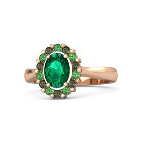 Oval Emerald 18K Rose Gold Ring with Emerald & Green Tourmaline
