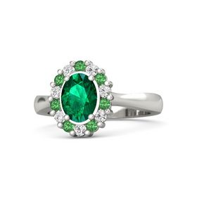 Oval Emerald 18K White Gold Ring with Emerald & White Sapphire
