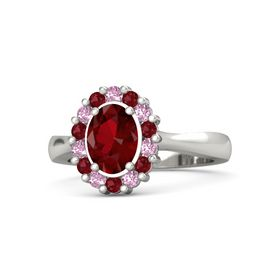 Oval Ruby 18K White Gold Ring with Pink Sapphire and Ruby