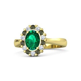 Oval Emerald 18K Yellow Gold Ring with Green Tourmaline & Diamond
