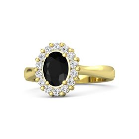 Oval Black Onyx 18K Yellow Gold Ring with White Sapphire