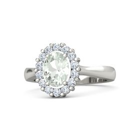 Oval Green Amethyst Palladium Ring with Diamond