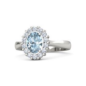 Oval Aquamarine Palladium Ring with Diamond